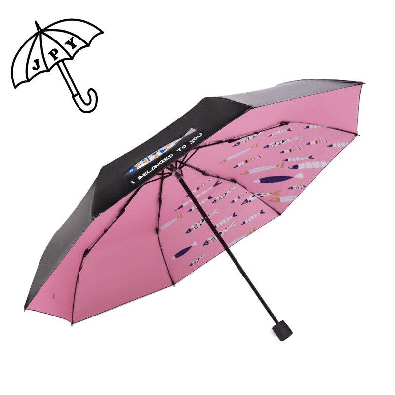 대양 물고기 비 우산 검정 코팅 일요일 양산 8 뼈 더 강한 방풍 비 일 우산 사업 숙녀 시리즈 우산