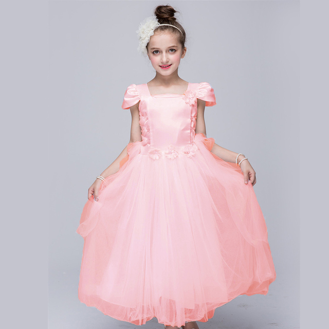 Pink White Flower Girl Dress European Wedding Dresses For Kids 4 5 6 7 8 9