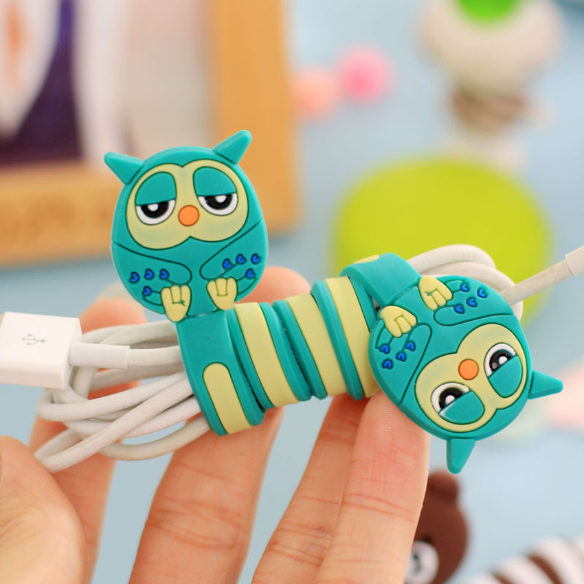 Funelego 1pcs 5 pcs 1 Lot Cables Winder Wire Organizer For USB Line Manager D13 Model Cartoon Lovely Totoro Style Wire Protector
