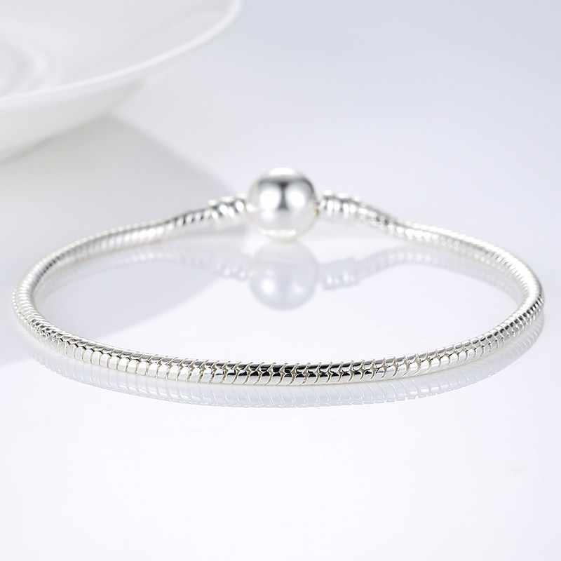 Gorąca sprzedaż 3 style srebrne dla zakochanych wąż łańcuch bransoletka Fit oryginalna bransoletka urok biżuteria z koralików prezent dla kobiet mężczyzn 16-21cm ZBB1104
