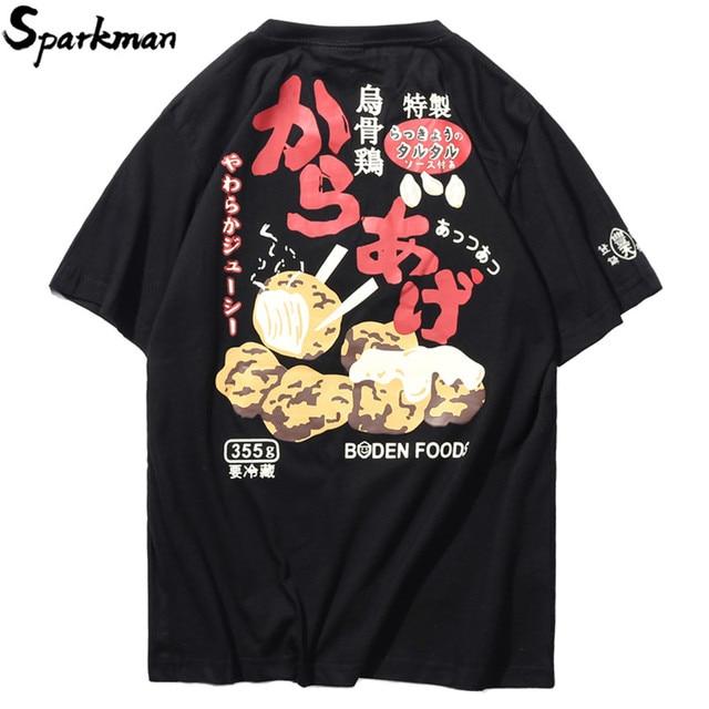 Japanese Style Patches Print Food T Shirt Summer 2018 Mens Harajuku T-Shirt Streetwear Hip Hop Casual Black Funny Tshirt Cotton