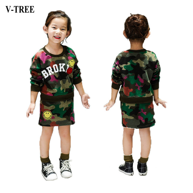 2-8 Years Old Girls Skirt Suit Girls Camouflage Skirt Suit Girls Clothes T-shirt + Short Skirt Suit For Girls Costumes For Kids
