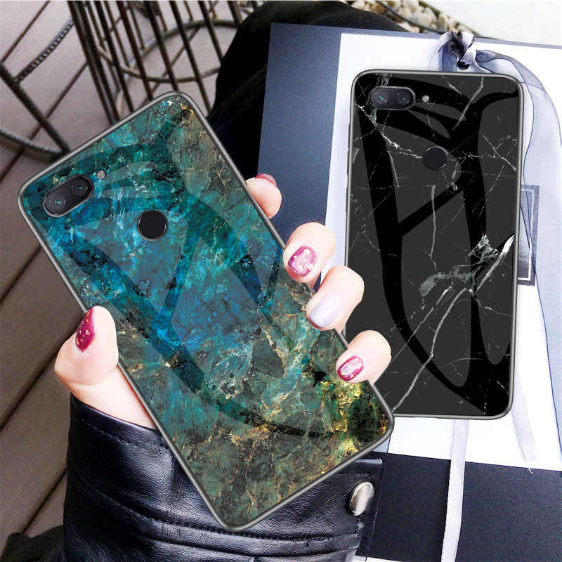 Phone Case for Xiaomi Mi 8 Lite Marble Tempered Glass Silicone Soft Edge Cover for Xiomi Mi8 Lite Global Version Mi 8 Lite Cases