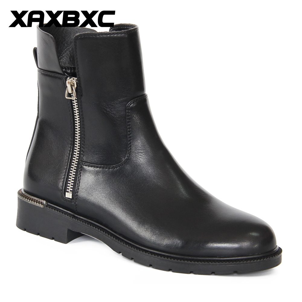 XAXBXC 2018 Retro British Winter Black Motorcycle Boot Zip Low Heel Short Ankle Boots Warm Women