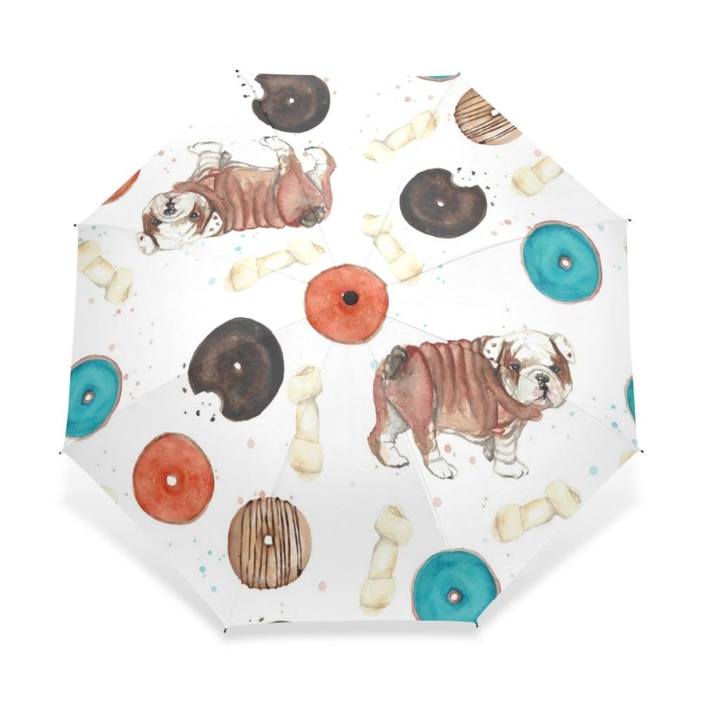 Милый зонт для женщин с изображением мопса и пончиков, автоматический складной зонт для детей с изображением мопса и костями, подарок для де...