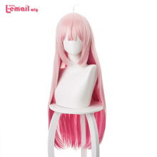 цена на L-email wig Maou Sama Retry Luna Cosplay Wigs 80cm Long Mix Pink Color Straight Cosplay Wig Heat Resistant Synthetic Hair Peruca
