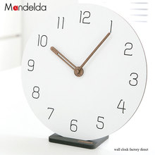 High Quality Circular White Decor Watch for Wall Creative Eco-friendly Wooden Silent Living Room Clock Bracket