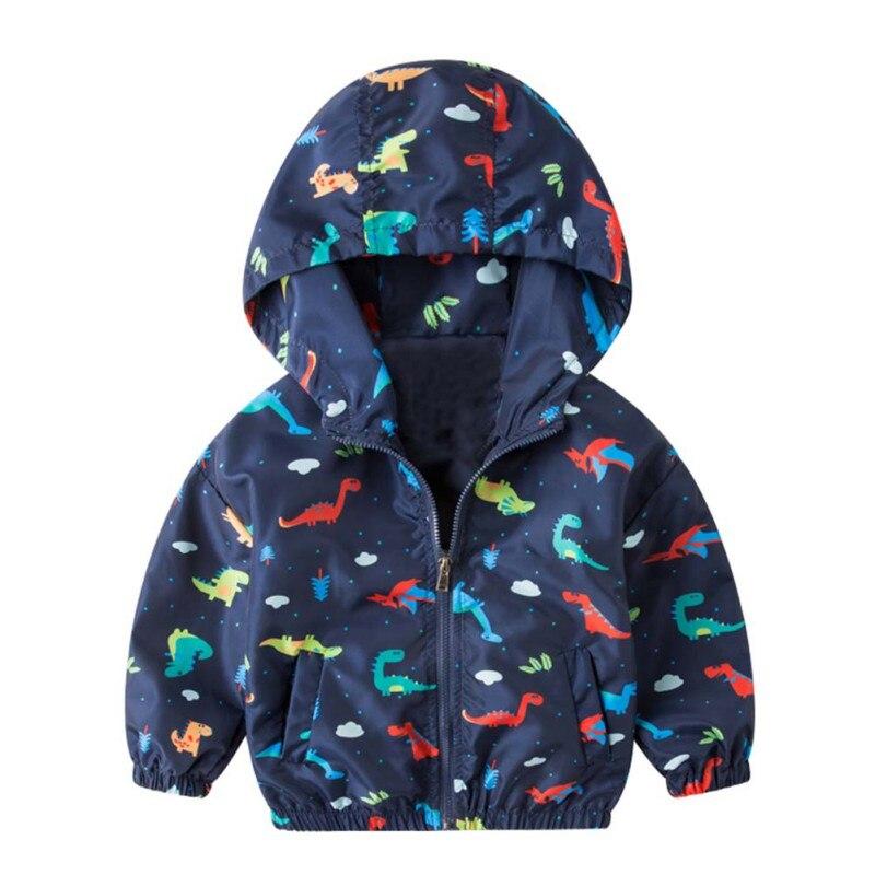 Children Toddler Boy Girl Zipper Hoodie Sweatshirt Cartoon Dinosaur Pattern Trench Coat Outerwear
