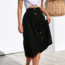 купить Yfashion Women Vintage Mid-Calf Single Breasted Pockets Skirt Loose Beach Casual Skirt дешево