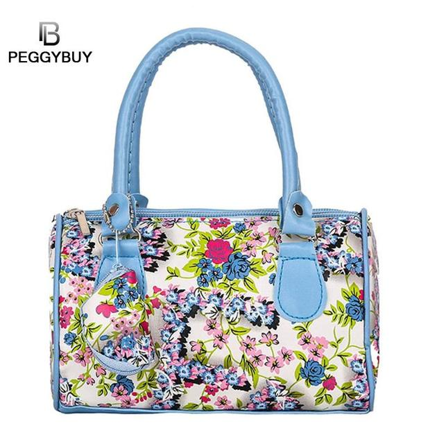 932304183f Mini Flowers Women Pillow Handbags PU Leather Top-Handle Tote Shoulder Bags  Mobile phone package Mini Multi-color Coin Purse