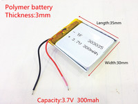 Wholesale 10 pcs 3.7V 300 mAh 303035 Lithium Polymer LiPo Rechargeable Battery For Mp3 Mp4 PAD DVD DIY E book bluetooth