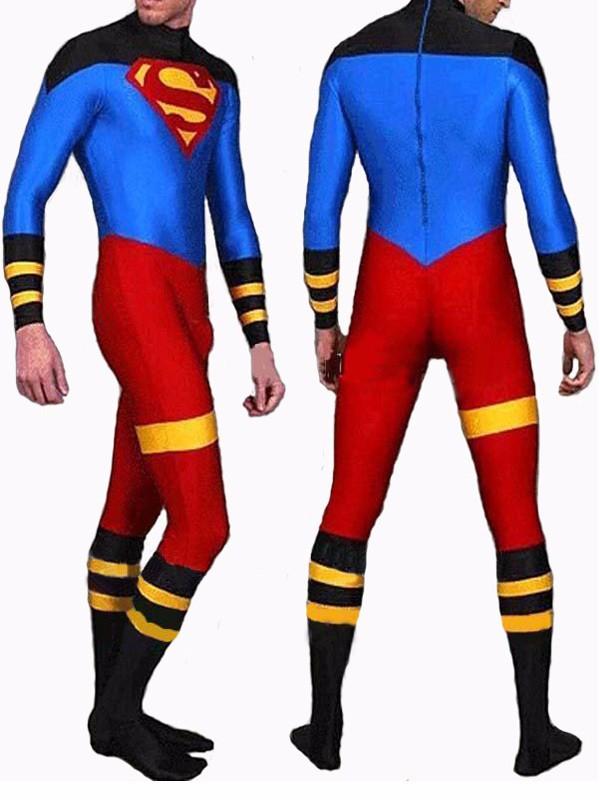 Traje Spandex Lycra Zentai Super boy Superman Superboy Trajes adultos personalizados/crianças zentai catsuit festa do Dia Das Bruxas Da Pele terno