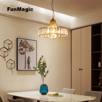 110 240V Luxury K9 Crystal LED Pendant Lights Dining Room Decorative Droplight Bright Hanging Lighting Bedroom Ceiling Fixture