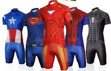 Captain America Spiderman Superman Iron Man short sleeve cycling jersey bib shorts  set Ropa Ciclismo bicicleta 48c74cbf3