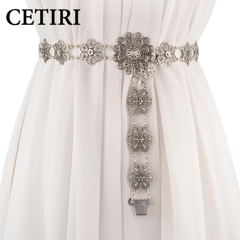 CETIRI 2018 new fashion   belt   for women High quality metal flower string waist chain ceinture femme on dress woman   belts   female