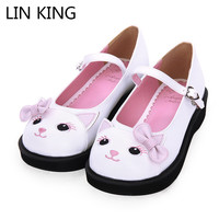 3997861c8 LIN KING New Lovely Women Pumps Low Heel Wedges Sweet Cat Lolita Shoes  Buckle Round Toe