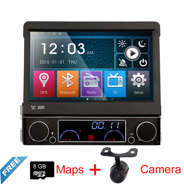 Envío Libre 7 ''Simple Din Wince Reproductor de DVD Del Coche GPS Para Universal Multimedia Stereo Radio Mapa de Bluetooth Inversa cámara