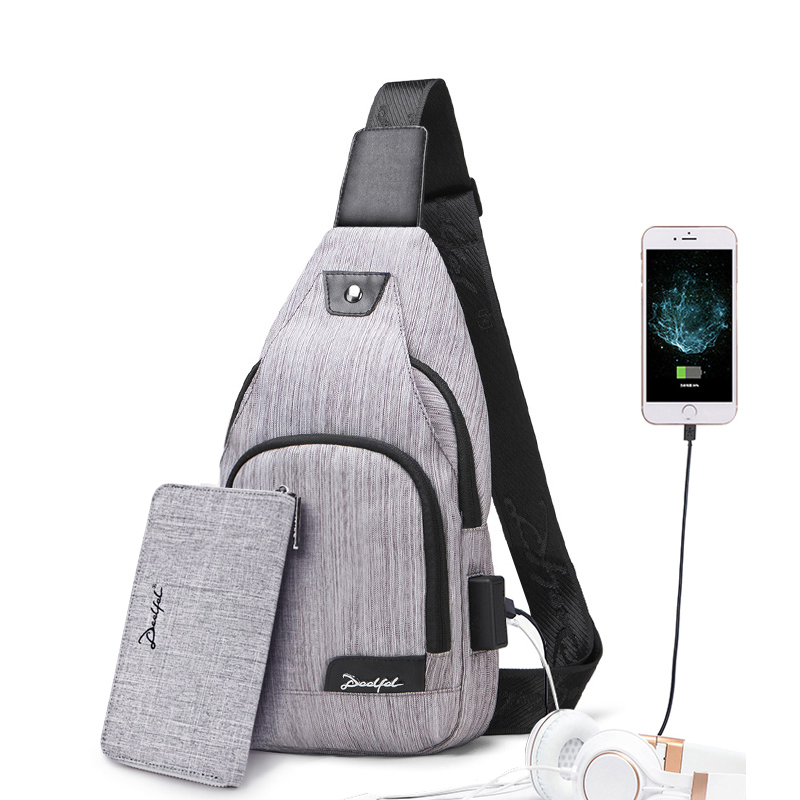 2019 New Sling Bag Men USB Charging Shoulder Bag Man Water Resistant Chest Bag Men Large Capacity Chest Pocket For 8 Inch Ipad