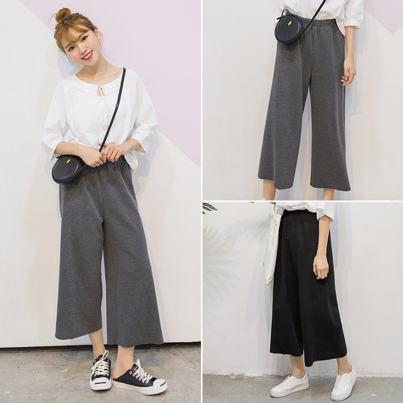 School wind women twist the texture   pants   2018 spring women's Vintage high waist   pants   Harajuku girl's casual   wide     leg     pants