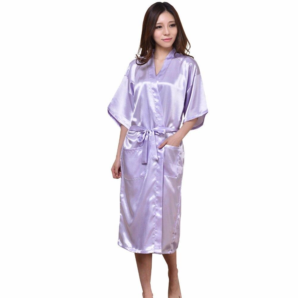 New Light Purple Long Sexy Silk Robe Summer Casual Nightgown Solid Color Bathrobe Sleepwear Kimono Bath Gown Plus Size S-XXXL