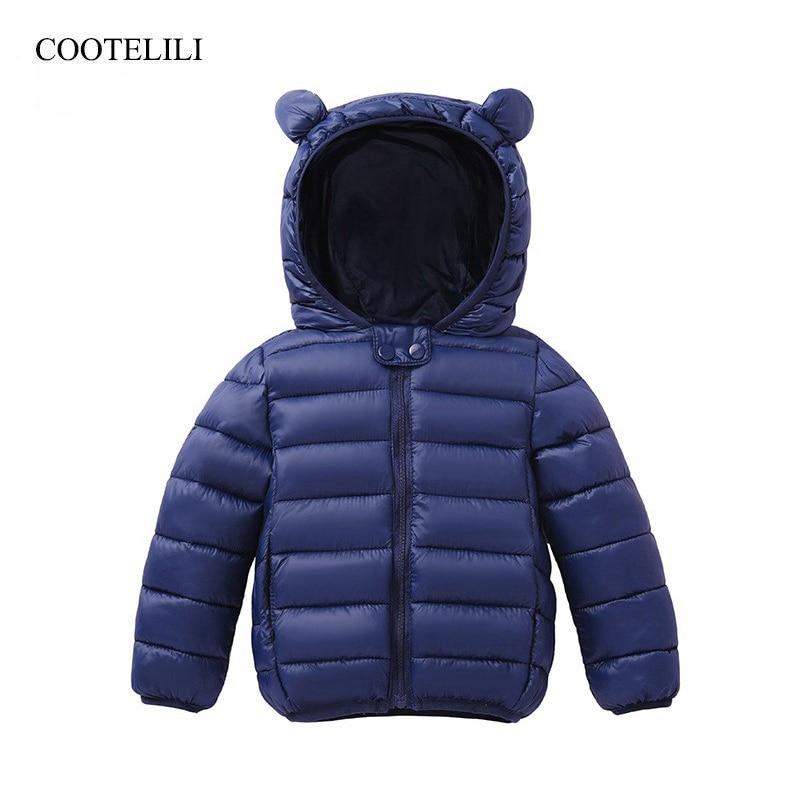 COOTELILI Cute Bear Childrens Parkas Winter Jacket For Girls Boys Infant Overcoat Children Coats Warm Kids Baby
