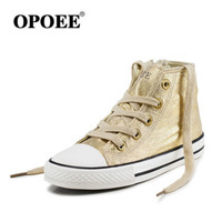 2017 New Children S Canvas Shoes Shining Sequins Children Shoes Boys Girls Shoes Ankle High Tops