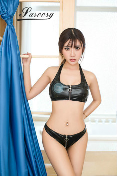 Hot Black PU Top & Open Crotch Underwear Set