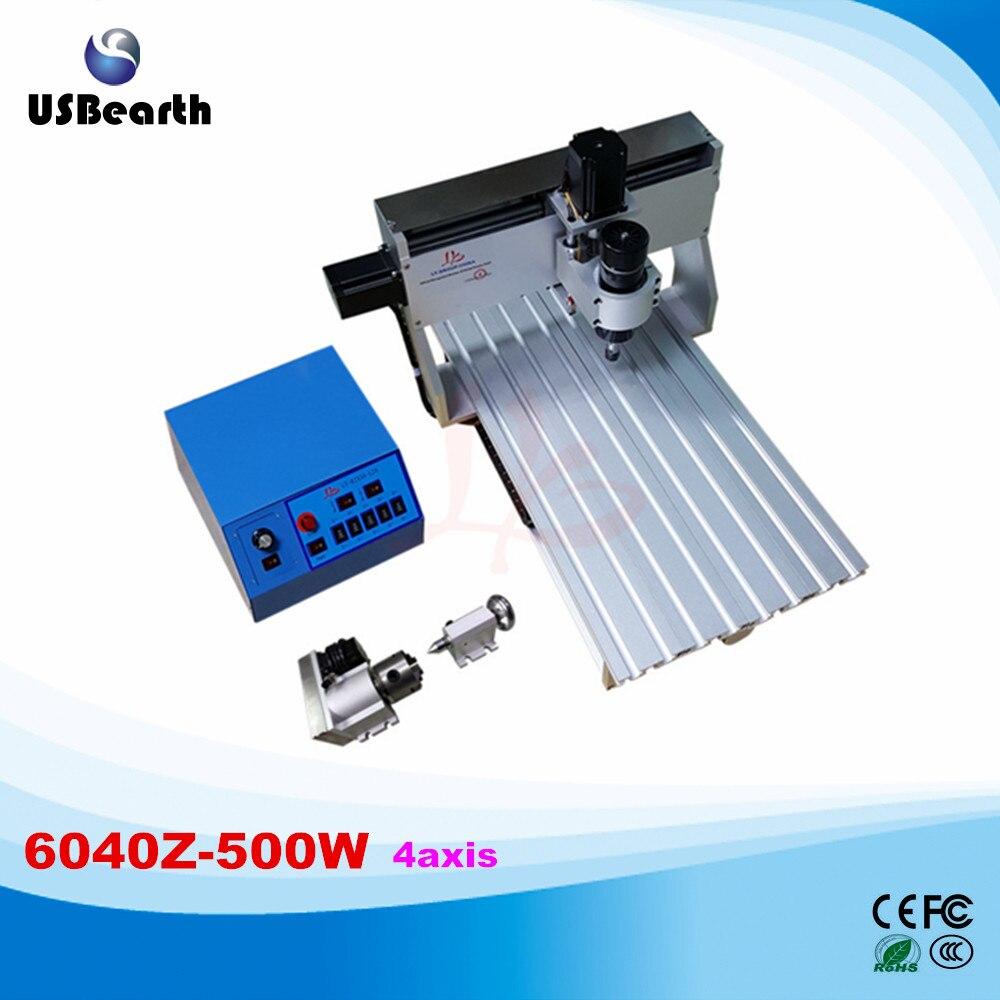 LY CNC 6040Z-500W 4 axis DC spindle mini CNC router machine lathe duty free to RU  acctek 6040 4040 cnc router cnc 6040 4 axis mini cnc machine 4 axis router