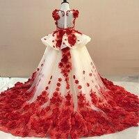 Роскошные платье для выпускного вечера Причастие бальное платье для девочки ручной работы Цветочные платья детское платье принцессы Детск