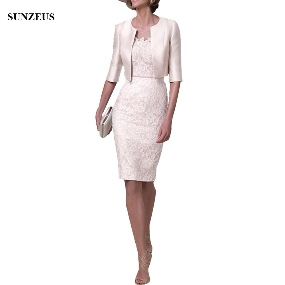 Elegant Lace Mother of The Bride Dress With Jacket Sheath Knee Length Half Sleeve Party Dress Lady Wedding Guest Gowns CM0150