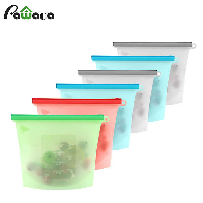 Silicone Food Storage Bag Reusable Vacuum Food Bag Sealer Fruit Meat Storage Bags Ziplock Food Saver Bags Fridge Food Containers