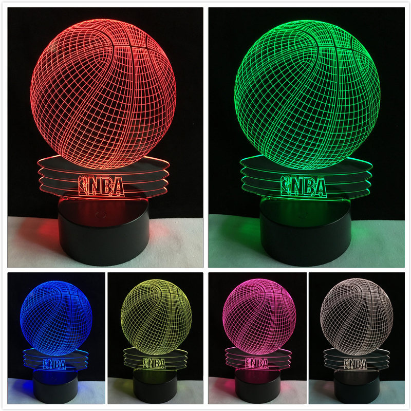 Creative Visual 3D NBA Basketball Led Night Light 7 Color Home Table Party Plub Bar Decor Lamp Boys Son Man Kid Favor Best Gifts creative 3d visual color changing led touching night light