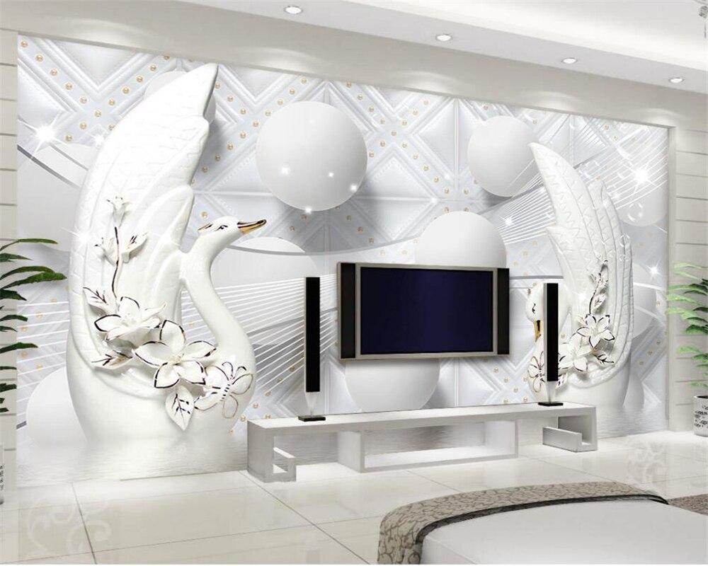 Decoratie Voor Aan De Muur.Us 8 7 42 Off Beibehang Home Decoratie Muur Papier Luxe Europese Witte Zwaan Zachte Tas 3d Bal Tv Achtergrond Muur Behang Voor Muren 3 D In Behang