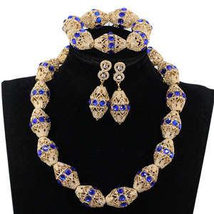 Image 1 - לקשט רויאל בלו ריינסטון אפריקאי זהב חרוזים שרשרת תכשיטי ניגריה חתונה חרוזים שרשרת עגילי צמיד P84 3