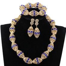 Collar de cuentas de Oro africano de diamante de imitación azul marino, joyería nigeriana, collar de cuentas de boda, pendientes, pulsera, P84 3