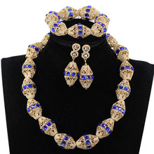 Dekoracji królewski niebieski Rhinestone afryki złote koraliki naszyjnik biżuteria nigerii ślubne koraliki naszyjnik kolczyki bransoletka P84 3