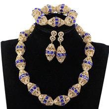 Versieren Royal Blue Rhinestone Afrikaanse Gouden Kralen Ketting Sieraden Nigeria Bruiloft Kralen Ketting Oorbellen Armband P84 3