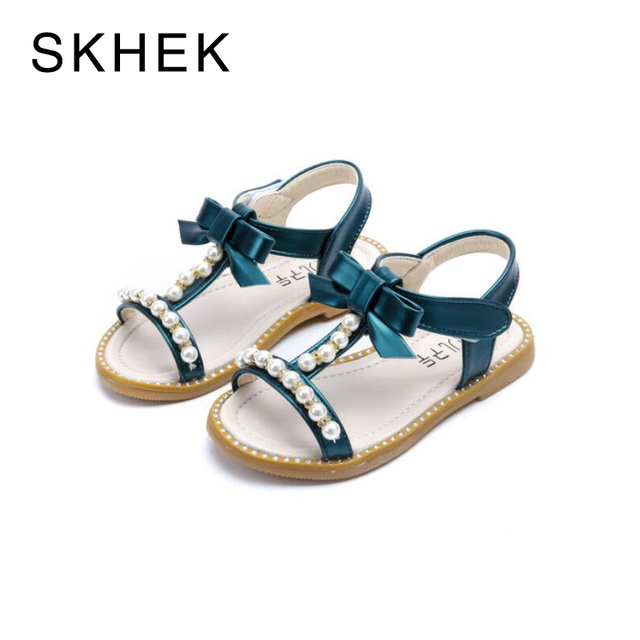 SKHEK Children Shoes Girls Sandals Pearl Pink Cut-outs Sandals Flat  Open-toe School Shoes Breathable Kids Sandals White Pink