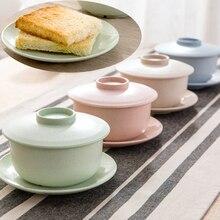 Hause Geschirr Eco Friendly Weizen Stroh Reis Schüssel Sets mit Deckel und Untertasse für Suppe Reis Obst