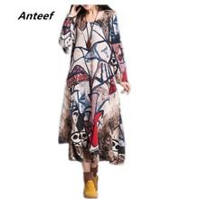 Новые модные из хлопка и льна с винтажным принтом Большие размеры женские повседневные Длинные свободные осеннее платье vestidos femininos Party 2017 платья