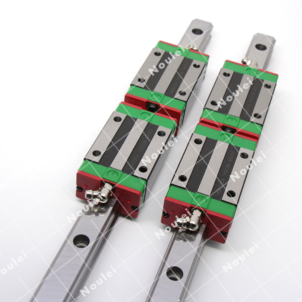 Noulei 2pcs HGR25 1200mm CNC Guide Rail with 4pcs HGH25CA Linear Slide Block HGH Set free shipping to argentina 2 pcs hgr25 3000mm and hgw25c 4pcs hiwin from taiwan linear guide rail