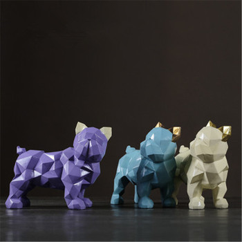 Resin Craftwork Simulation Abstraction Geometry FRENCH BULLDOG Statue Creative Living Room Wine Cabinet Decoration X1735