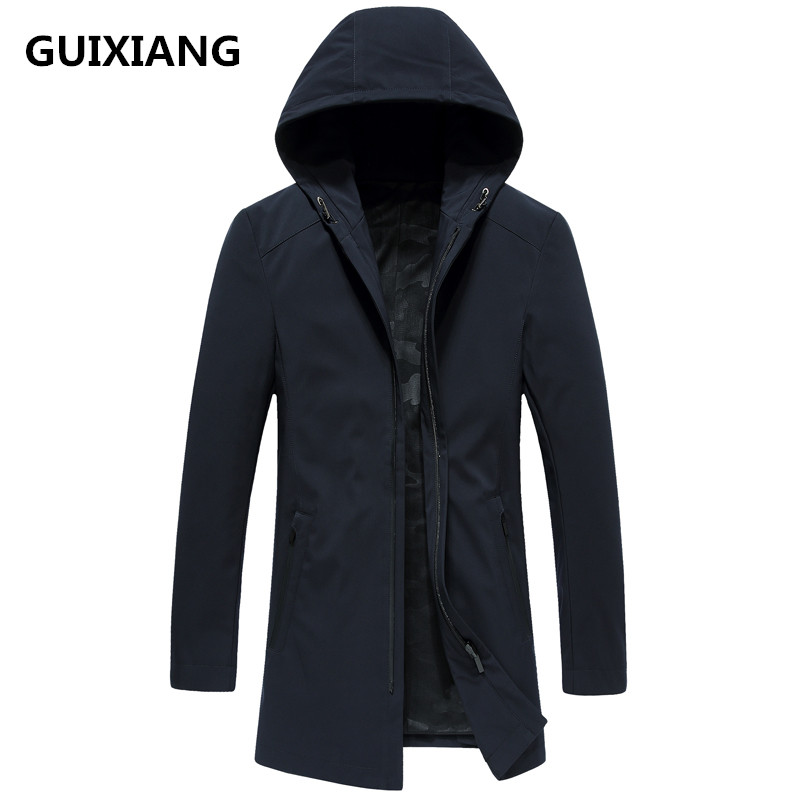 2018 autumn New style Men's high quality fashion casual jacket Men's hooded   trench   coat jackets men coat windbreak size M-3XL