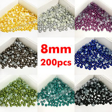 200pcs 8mm PEARLS Half Round Immitation Faux Acrylic Flat Back Resin Cabochon Half Dome Pearl Finish Beads DIY Crafts Supplies(China)