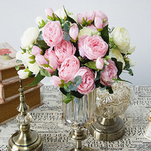 9 head / 1PCS beautiful Philippe Persian rose peony rayon spring home wedding party decoration fake flower factory