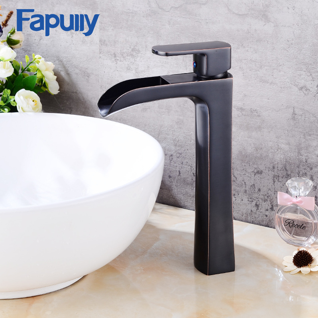 Fapully Bathroom Sink Waterfall Faucet Oil Rubbed Bronze Basin Vanity Single Handle Tall