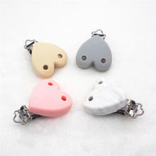 Купить с кэшбэком Chenkai 10PCS Silicone Heart Teether Clips DIY Baby Pacifier Dummy Soother Nursing Jewelry Toy Chain Holder Clips 2 holes