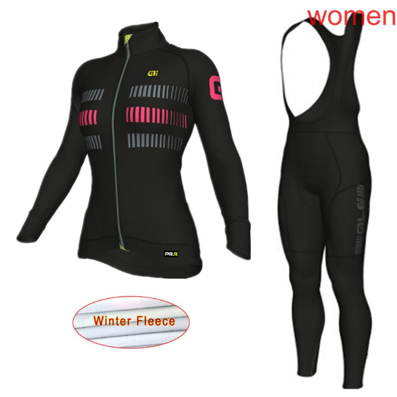 2018 ALE Women Winter Super Warm Cycling Jersey Suit long sleeves Thermal Fleece mountain Bike Sportswear Bicycle Clothing C0910
