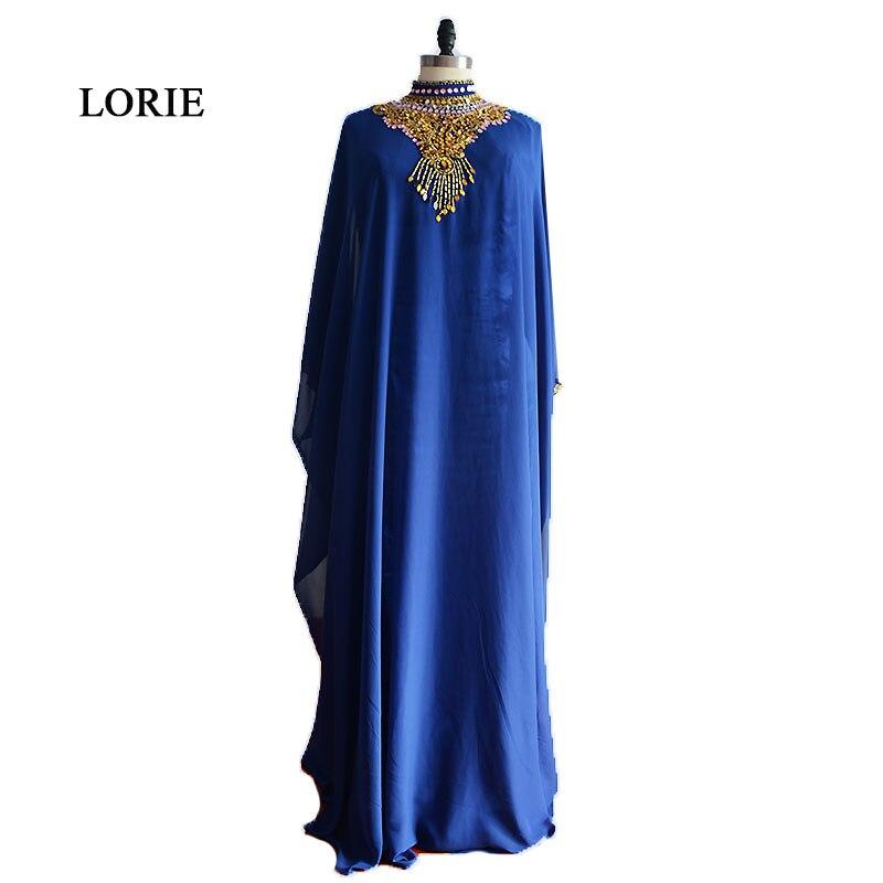 LORIE Musulmane Robe De Soirée Abaya Arabe Perlée avec Strass Dubaï En Mousseline de Soie Bleu Royal Robe De Bal pour Parti robe de festa