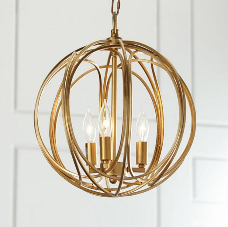 2017 New Sale American Village Fashion Golden Iron Pendant Lamp Bedroom Living Room Restaurant Art Lights Fixture Free Shipping
